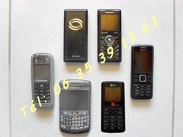 photo de 6 Téléphones Portables BlackBerry Nokia Sagem LG  (Annonce Negoce-Land)