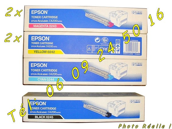 Toners Epson AcuLaser séries C4200 neufs C13S050242 C13S050243 C13S050244 C13S050245 [Petites annonces Negoce-Land.com]