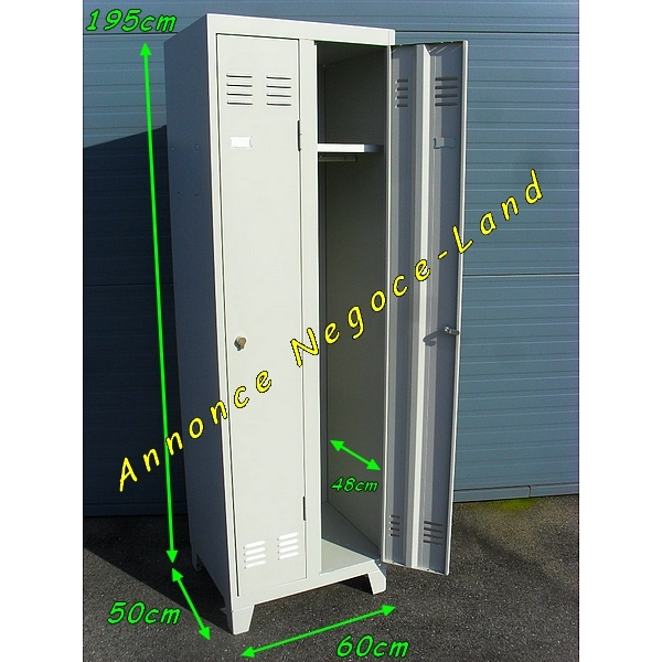 Armoire vestiaire 2 portes m tallique negoce land com for Armoire metallique 2 portes