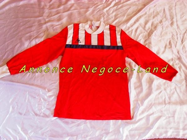 Image Maillot de foot Le coq Sportif Rouge B&N (Neuf) [Petites annonces Negoce-Land.com]