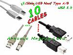10 câble USB 2.0 TYPE A/B pour Imprimante, Scanner, Modem, Hub, Photocopieur, Multifonctions, Traceur, Fax et divers offre Consommables [Petites annonces Negoce-Land.com]