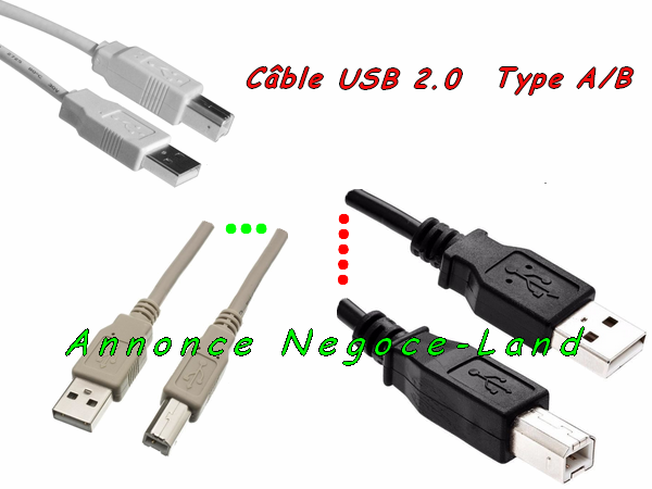 photo de Câble USB 2.0 TYPE A/B pour Imprimante, Scanner, Modem, Hub, Photocopieur, Multifonctions, Traceur,