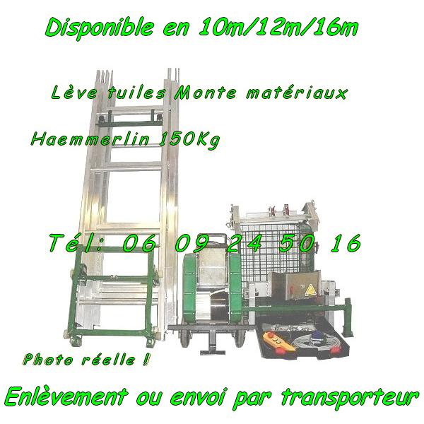 Monte matériaux Haemmerlin Maxial MA415 Charge 150kg lève tuiles 15m (Reconditionné) [Petites annonces Negoce-Land.com]