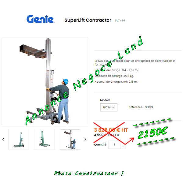 Genie Superlift Contractor SLC-24 - Elévateur Lève Charges manuel 295kg à 7,32m [Petites annonces Negoce-Land.com]