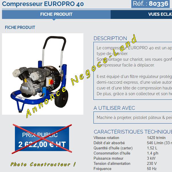 Compresseur à air Europro 40 Euromair Project [Petites annonces Negoce-Land.com]