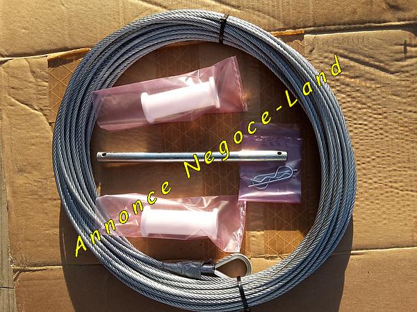 Kit de maintenance Monte charge Altrad Mont-Vit : câble de levage en 35m - 2 rouleaux guide câble - tige métallique [Petites annonces Negoce-Land.com]